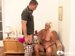 Blonde granny doggy style fucked and pleasured