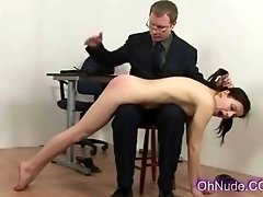 hot young brunette with perky tits spanked