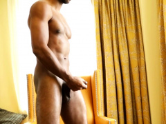 Sporty black hunk solo tugging swollen dong