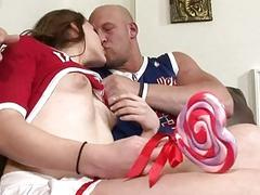 Cheerleader tranny Hazel Tucker gets butt drilled hard and fast