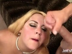 Fat Blonde Deepthroats a Cock and Is Well Fucked