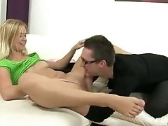 Tiny tit blonde gets a creampie fuck