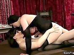 Shemale fucks hairy pussy domme