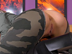 Luscious army girl receives a messy creampie