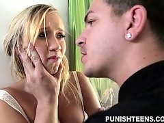 Young blonde chick fucked hard and rough by maledom deviant