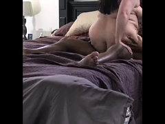 Curvy brunette wife takes a black dick for an exciting ride