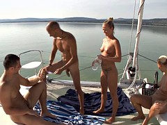 Baby gets her tight ass stretched on the boat