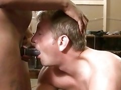 Exquisite ebony shemale makes him into an obedient sex slave
