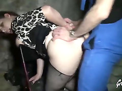 Trampy dark haired with humungous boobies, Fiby got penetrated by a wild stranger, in the dungeon