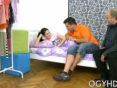 Brunette teen with little body fucked by disgusting old man in bed