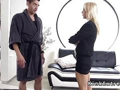 Slut feels the pain while fucked and bound BDSM porn