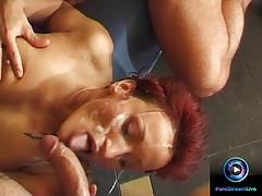 Redhead cougar Mary Gang in a gangbang fuck