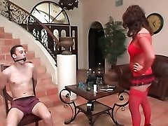 Tied and gagged guy teased by Eva Angelina