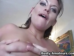 Busty Leslie playing her tits and hot pussy