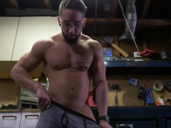 Stud knows what to do with his giant tool when he is bored