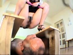 Sexy slender Japanese mistress punishes her kinky old slave