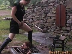 Tormented slave is giving master a lusty oral