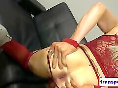 POV drilled trans babe gets facialized