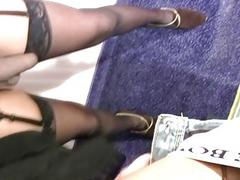 Ebony tgirl sucks big dick in POV while jerking her shecock