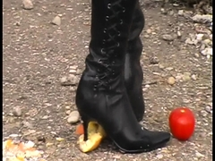 Girls crush food with boots