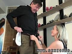 Brunette hardcore hd Woody is selling footwear to Vinna but