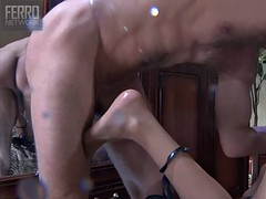 Skinny short-haired milf gets fucked by a horny stud