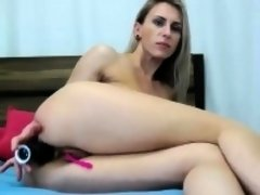 Horny blonde girl toying her nice pussy on chair on webcam
