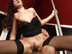 Rose pole dances and takes on Arpi's hard cock