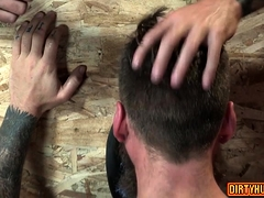 Muscle bear foursome with facial