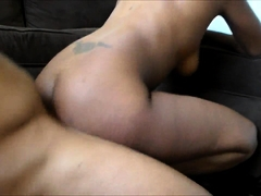 Busty caramel chick gets her pink hole tongued and drilled