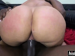 Masturbating beauty gets a big black cock