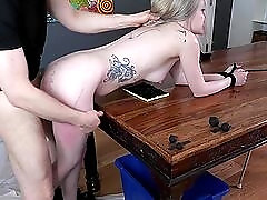Hair pulling ass fuck with a bitch bound in his office