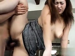 Hairy asian plays with her hairy pussy