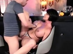 Shaved Pussy Big Tits Brunette Licking Bar Fucking