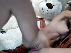 amazing big tits camgirl masturbates with toys and squirts