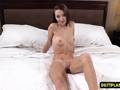 Brunette cowgirl throat gag with creampie