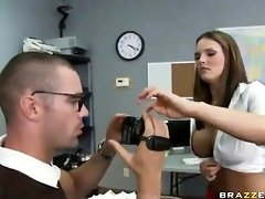 Huge-Chested college girl is about to get smashed in the classroom, hile no one else is there