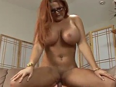 matured cowgirl with big tits getting smashed on sofa