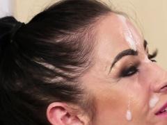 Flirty beauty gets cum load on her face sucking all the spun