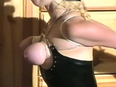Busty blonde gets juicy boobs bonded by stud