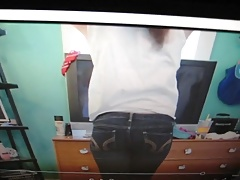 Cum on a pair of my girl's jeans while watching her video.