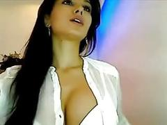 Hot Iranian babe shows her big tits on webcam solo