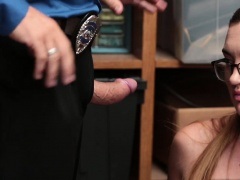 Kat Monroes shaved pussy getting eaten by the LP Officer