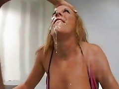Hot girl giving extreme deep throat blowjob