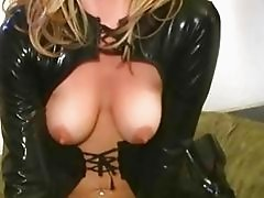 Girl in latex riding a sybian