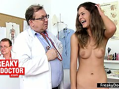Hot slim brunette Rachel Evans gyno doctor invitation