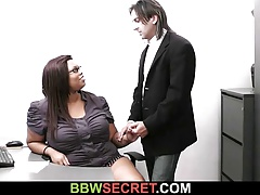Married boss cheats with ebony secretary