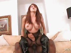 Saucy bitch Joslyn James crams twat with monster cock grinding to orgasm