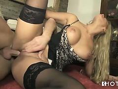 Long legged blonde in lingerie fucked on the floor